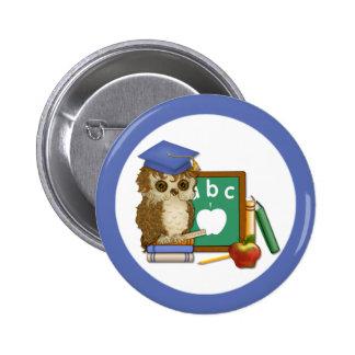 Scholar Owl 6 Cm Round Badge
