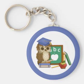 Scholar Owl Basic Round Button Key Ring