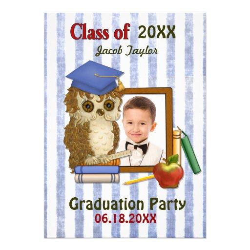 Scholar Owl Blue - Kindergarten Graduation Invitations