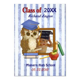 "Scholar Owl - Graduation Invitation 5"" X 7"" Invitation Card"