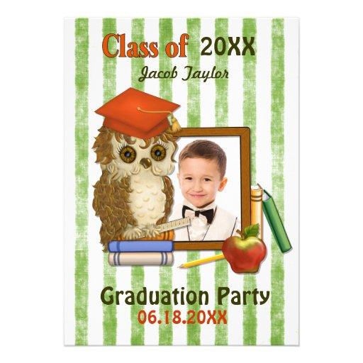 Scholar Owl Green - Kindergarten Graduation Custom Invite