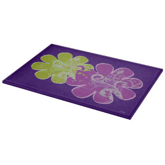 Scholls and Flowers (purple/lime) Cutting Board