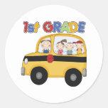 School 1st Grade Bus Round Sticker