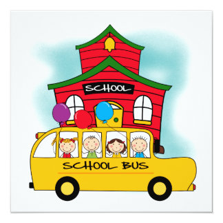 School and School Bus T-shirts and Gifts Card
