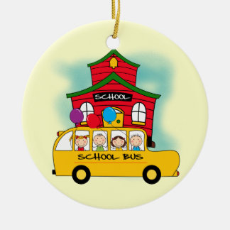 School and School Bus T-shirts and Gifts Round Ceramic Decoration