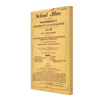 School atlas, Woodbridge's rudiments of geography Canvas Print