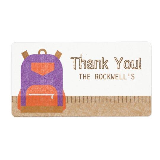 School Backpack Ruler Label Thank You