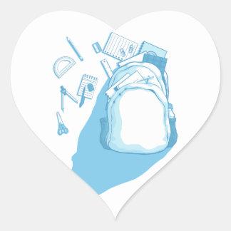 School Bag with School Supplies Scattered Around Heart Sticker