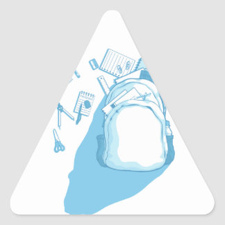 School Bag with School Supplies Scattered Around Triangle Sticker