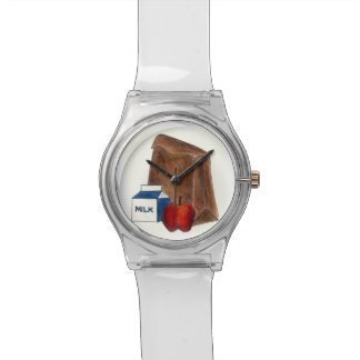 School Brown Bag Lunch Lady Apple Milk Box Watch