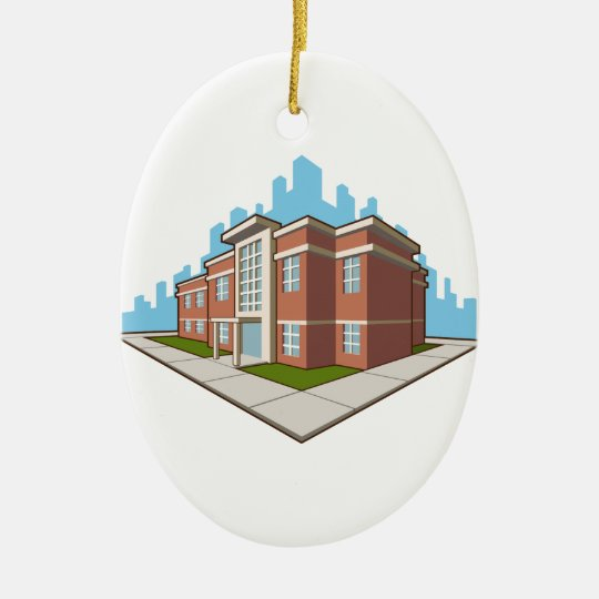 School Building Christmas Ornament