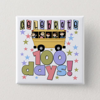 School Bus 100 Days Tshirts and Gifts 15 Cm Square Badge
