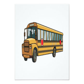 School Bus 13 Cm X 18 Cm Invitation Card