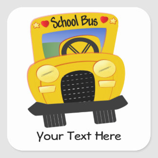 School Bus 2 (Customizable) Square Sticker