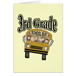 School Bus 3rd Grade Tshirts and Gifts Greeting Card