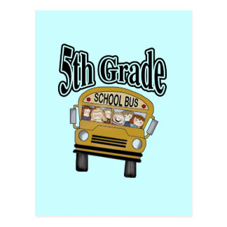 School Bus 5th Grade Tshirts and Gifts Post Cards