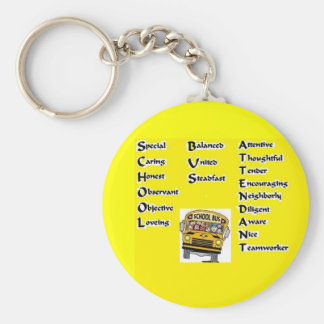 School Bus Attendant Basic Round Button Key Ring