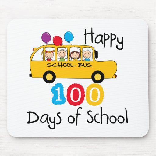 School Bus Celebrate 100 Days Mouse Pads