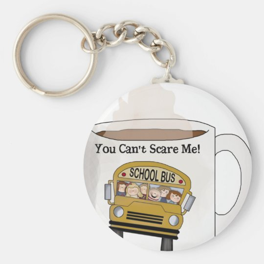 School bus driver basic round button key ring