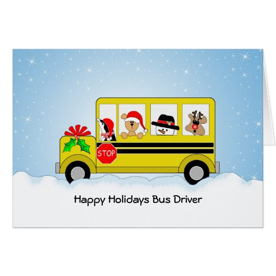 School Bus Driver Christmas Card, Happy Holidays Card