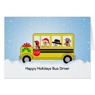 School Bus Driver Christmas Card, Happy Holidays Greeting Card