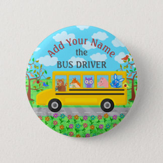 School Bus Driver Cute Animals | Personalized Name 6 Cm Round Badge