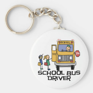 School Bus Driver T-shirts and Gifts. Basic Round Button Key Ring