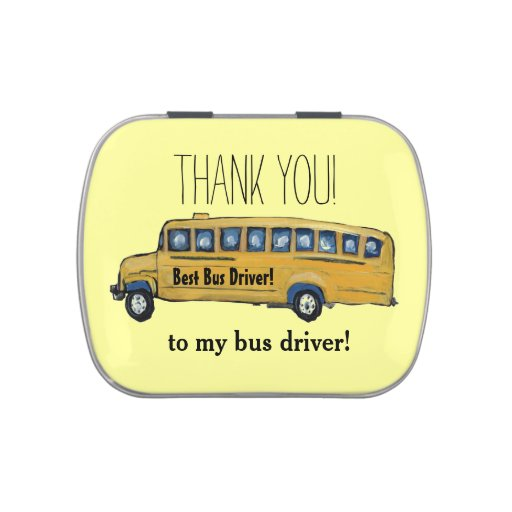 School Bus Driver Thank You Candy Tin