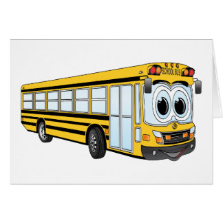 School Bus Flat Nose Cartoon Greeting Card