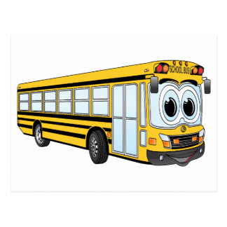 School Bus Flat Nose Cartoon Postcard
