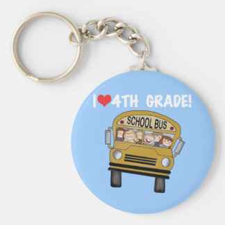 School Bus I Love 4th Grade Basic Round Button Key Ring