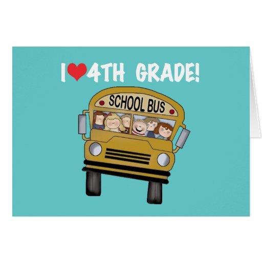 School Bus I Love 4th Grade Greeting Cards