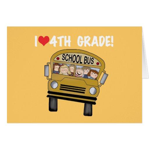 School Bus I Love 4th Grade Cards