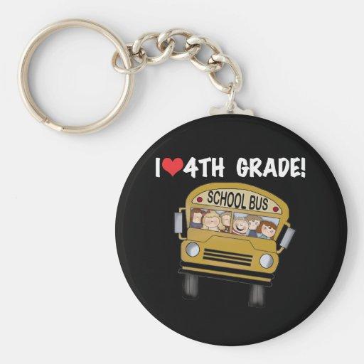 School Bus I Love 4th Grade Key Chains