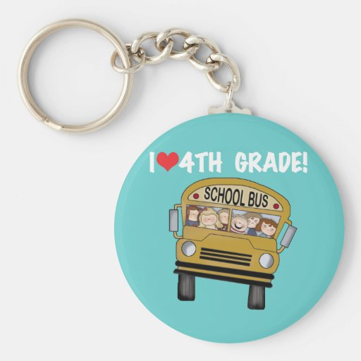 School Bus I Love 4th Grade Key Chain