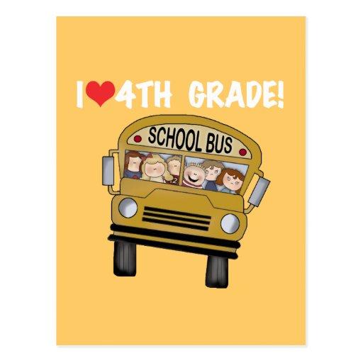 School Bus I Love 4th Grade Post Card