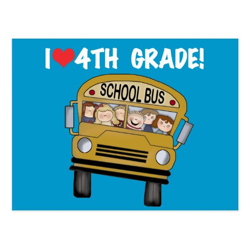 School Bus I Love 4th Grade Postcards