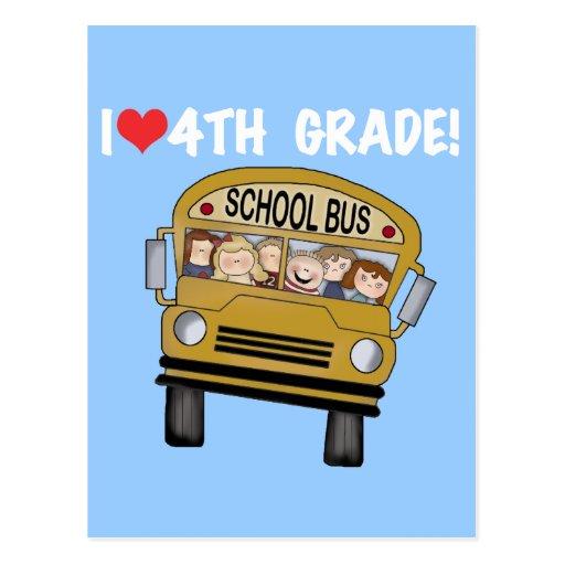 School Bus I Love 4th Grade Post Cards