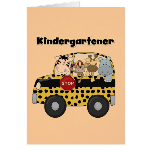 School Bus Kindergartener Tshirts and Gifts Greeting Cards