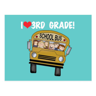 School Bus Love 3rd Grade Tshirts and Gifts Postcard