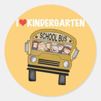 School Bus Love Kindergarten Classic Round Sticker