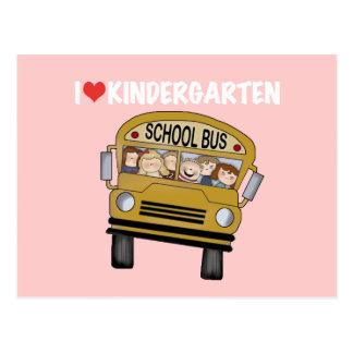 School Bus Love Kindergarten Postcard