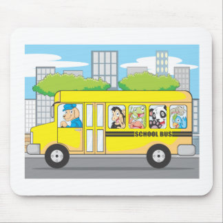 School Bus of Animals Mouse Pad