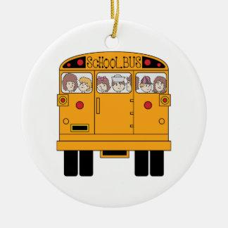 School Bus Rear Round Ceramic Decoration