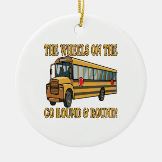 School Bus Round Ceramic Decoration