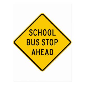 School Bus Stop Highway Sign Post Cards