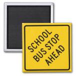 School Bus Stop Highway Sign Refrigerator Magnet