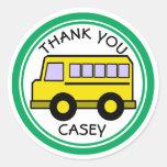 School Bus Thank You Round Sticker