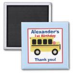 School Bus Town Birthday Favour Magnet
