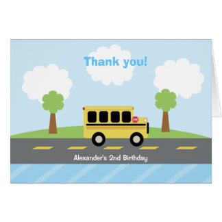 School Bus Town Birthday Thank you Card